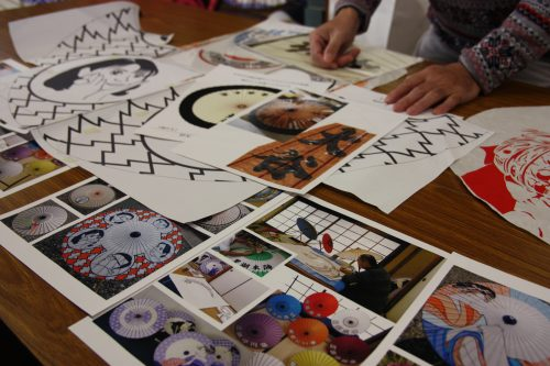 Umbrella illustrations for handmade umbrellas in Udatsu.