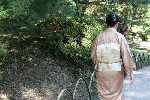Woman strolls in kimono in Ritsurin Garden in Takamatsu, Kagawa Prefecture in Eastern Shikoku.