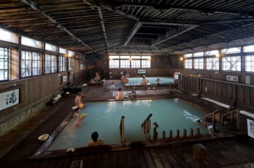 "The ""1000-person bath"" at Sukayu onsen, Aomori prefecture in the Tohoku region, Japan."