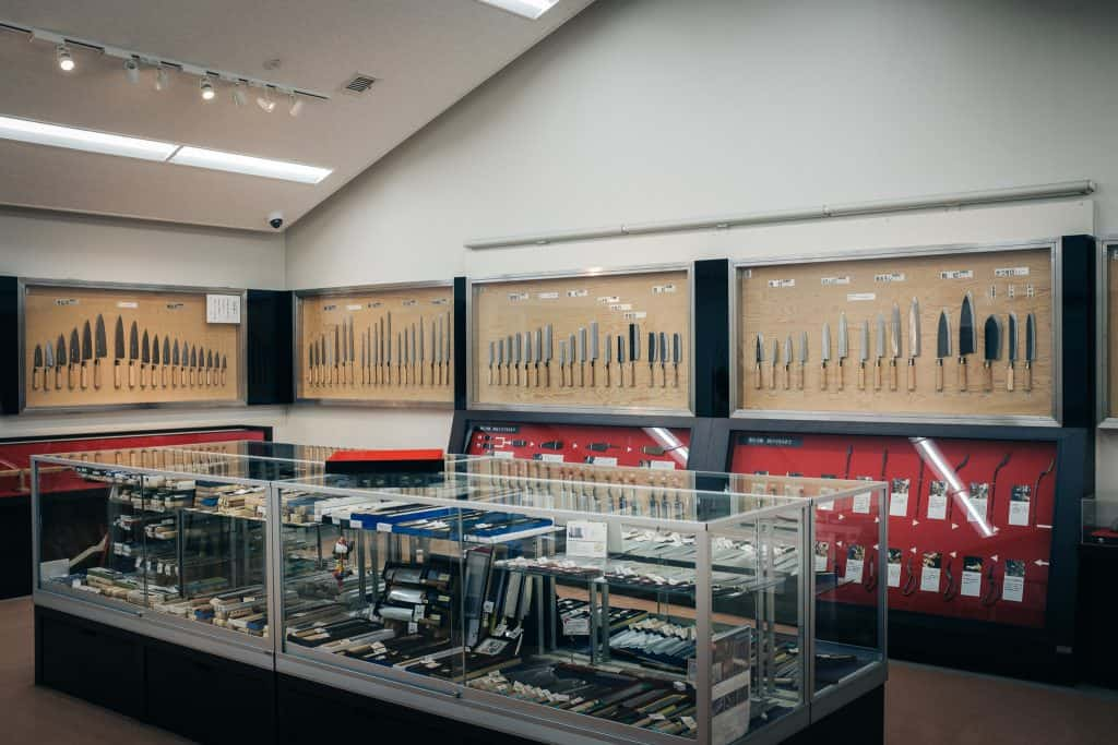 Sakai City Traditional Craft Museum Shop, Osaka, Japan has a huge assortment of Japanese knives on sale.