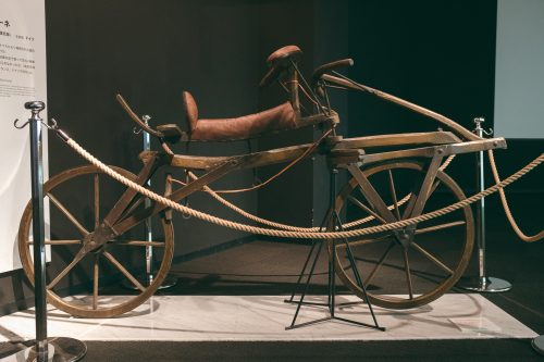 First bike model exhibited at Sakai Bicycle Museum, Osaka, Kinki Region, Japan