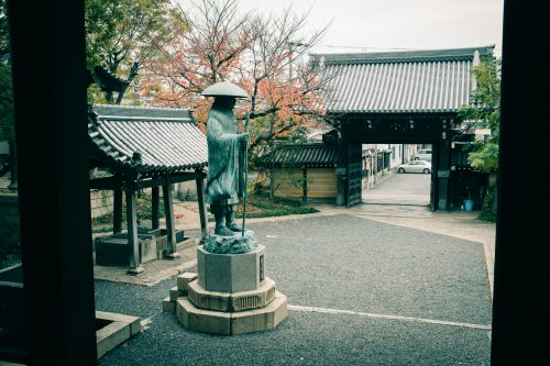 Hongwanji Sakai Betsuin Temple, who played a role in the life of Akiko Yosano, a poet from Sakai, Osaka, Kinki Region, Japan
