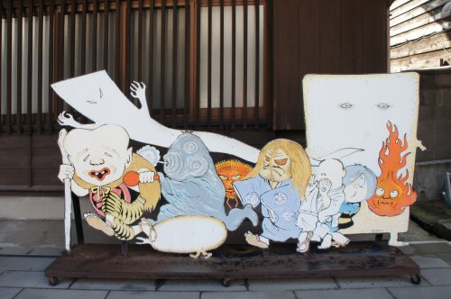 Yokai drawings along the Mizuki Shigeru Road in Sakaiminato, San'in region, Tottori, Japan