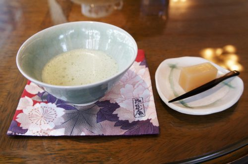Matcha tea at the Yuushien Japanese Garden, not far from the Adachi Museum of Art, Yasugi, Shimane Prefecture, San'in Region, Japan