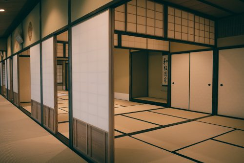 Reproduction of one of the tea rooms of Sen no Rikyu, master of the tea ceremony, Sakai, Osaka, Kinki region, Japan