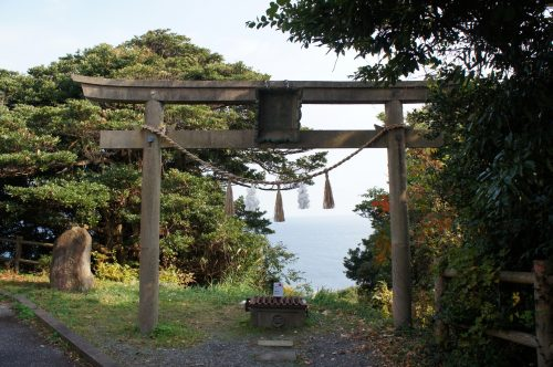 Torii facing the Sea of Japan in Mihonoseki, Shimane Prefecture, San'in Region, Japan