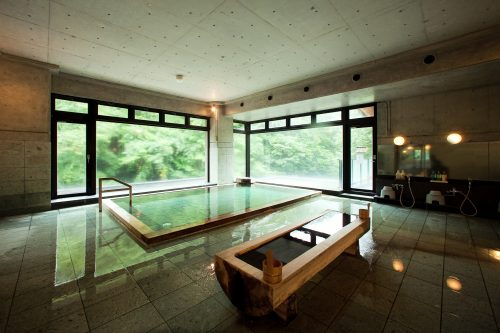 Bath with a view at Osawa Onsen in Hanamaki, Iwate Prefecture, Japan.