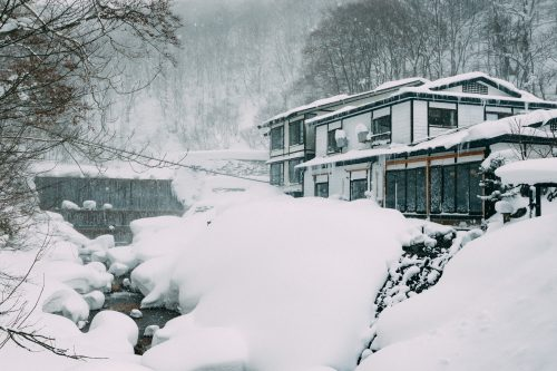 A ryokan at Nyuto Onsen in Winter