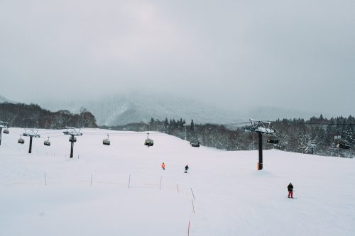 Crowd Free Skiing at Tazawako Ski Resort, Akita, Tohoku, Japan.