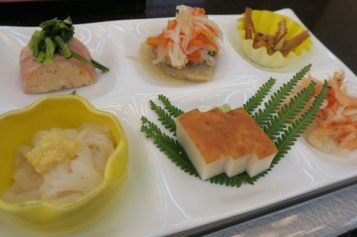 Japanese breakfast items at Ryokan Masagokan in Kakegawa, Shizuoka.