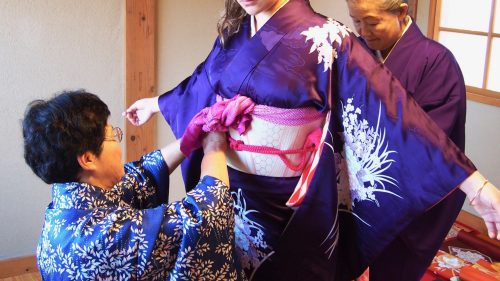 Being dressed in kimono for my tea ceremony experience in Izumi, Kagoshima.