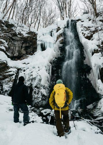 Snowshoe to a waterfall in Tazawako, Semboku, Akita, Tohoku, Japan.