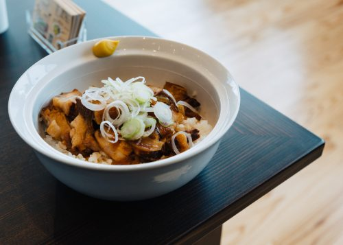 Pork Belly over rice at Tazawako Ski Resort, Akita, Tohoku, Japan.