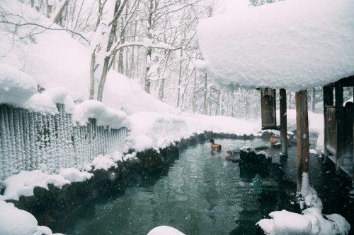 Snowy Ganiba Onsen in Nyuto onsen, Akita, Tohoku, Japan.