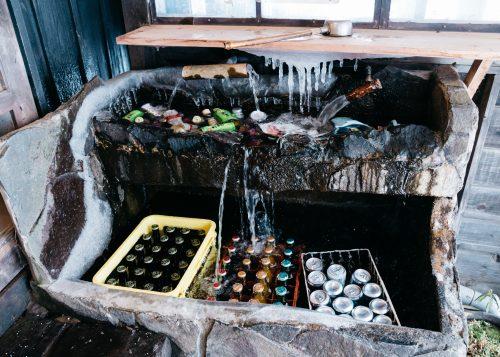 Innovative drink cooler at Tsurunoyu Onsen in Nyuto onsen, Akita, Tohoku, Japan.
