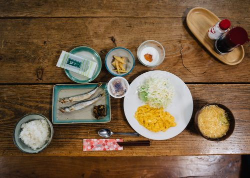 Japanese breakfast at Lodge Yodel, Semboku, Akita Prefecture