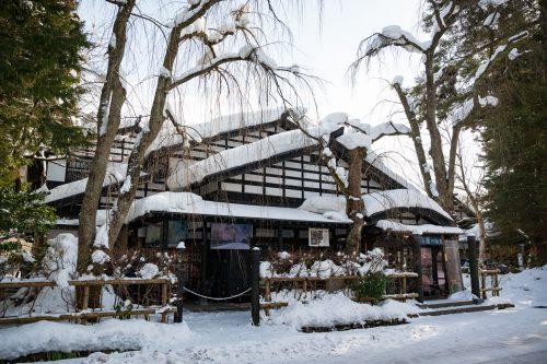 Snow covered buildings of Kakunodate, Akita.