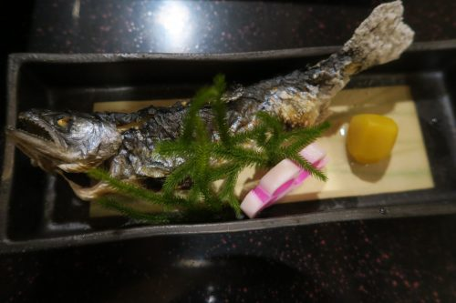 A broiled fish at Ryokan Masagokan in Kakegawa, Shizuoka.