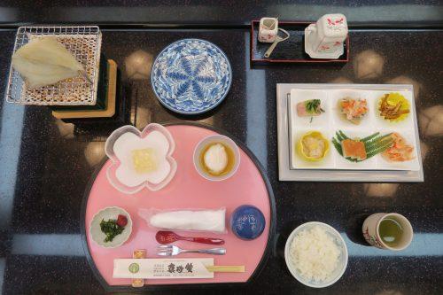 Traditional Japanese breakfast at Ryokan Masagokan in Kakegawa, Shizuoka.