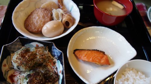 A huge homemade Japanese breakfast at my Izumi farm stay.