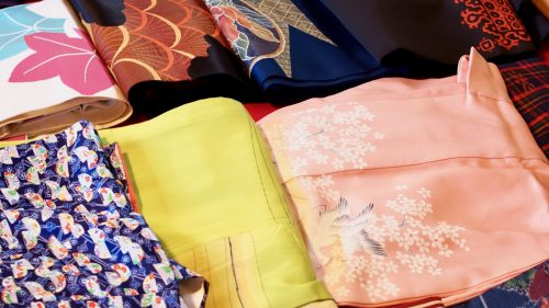 Colorful choices of kimono in Izumi, Kagoshima.