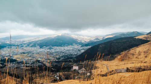 A cloudy view of Yufuin in Oita, Kyushu.