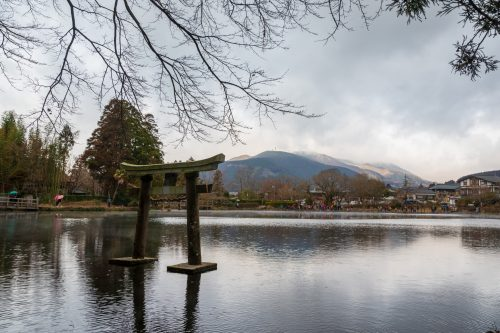 Tenso Shrine torii on Kinrin Lake in Yufu.