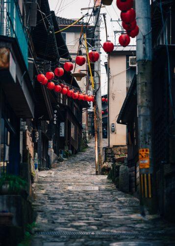 Main street of Yunohira Onsen, Oita Prefecture, Kyushu