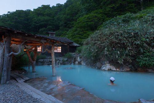 Outdoor bathing at Tsurunoyu Onsen in Nyuto onsen, Akita, Tohoku, Japan.