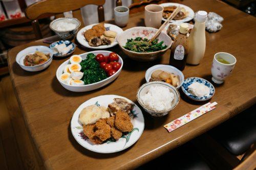 Meal at Wakabayashi Farm Stay in Yufu city, Oita.