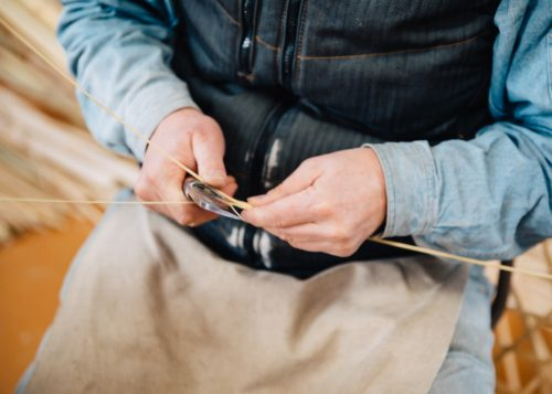 Experiencing Oita bamboo weaving in Yufu city, Kyushu.