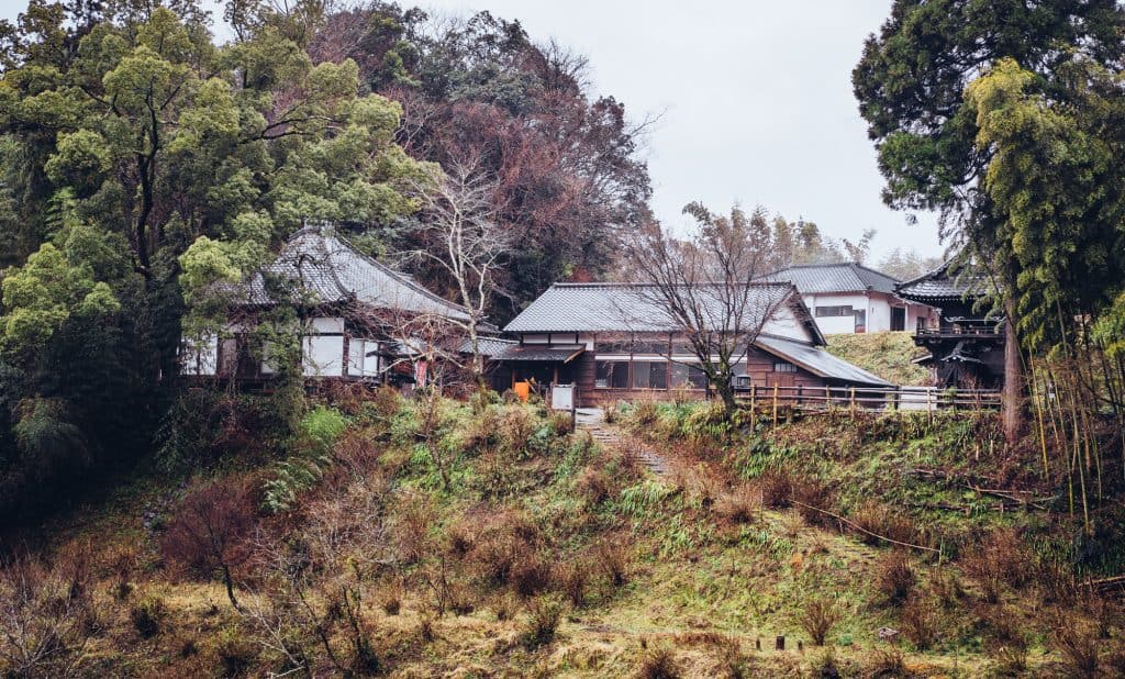 traditional japanese temple in oita, japan