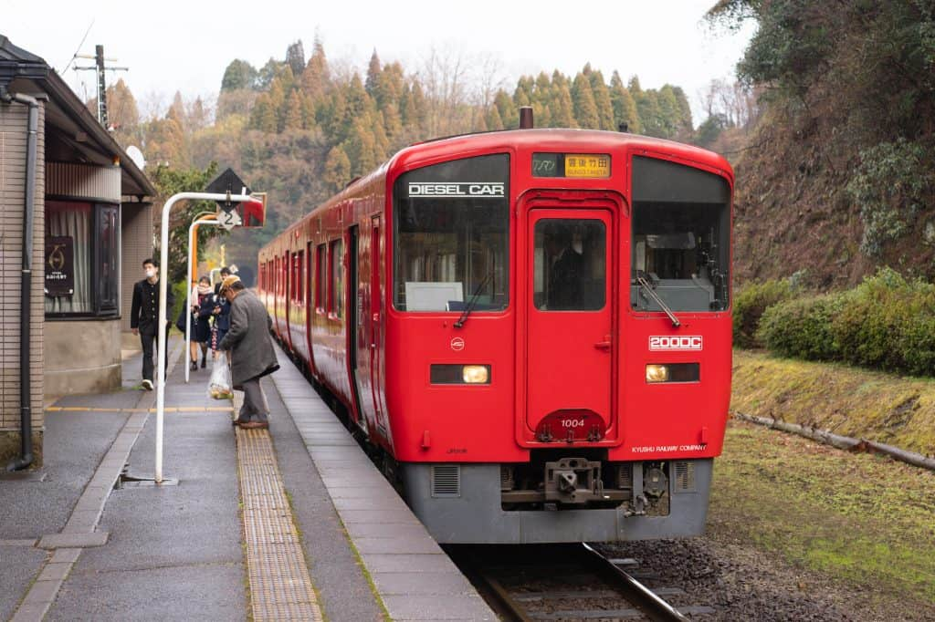 Asaji station and train in Bungo-ono, Oita, Kyushu, Japan.