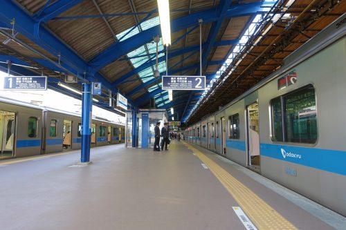 Odakyu railway's platform in Tokyo, Japan.