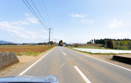 Drive a countryside in Oita, Kyushu, Japan.