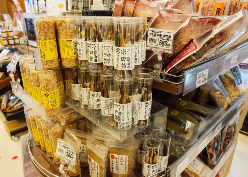 Dried bonito (katsuo) for sale in a shop