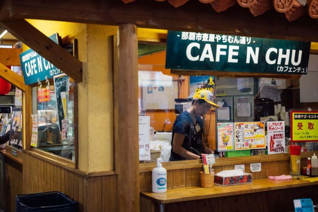 Food counter inside Okinawa antenna shop