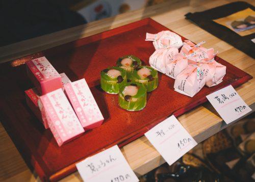 Sweets used for tea at Nara antenna shop.