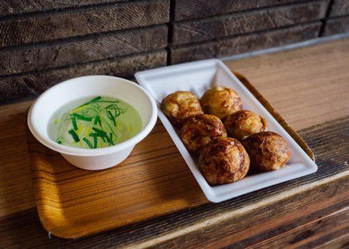 Takoyaki and yuzu dashi