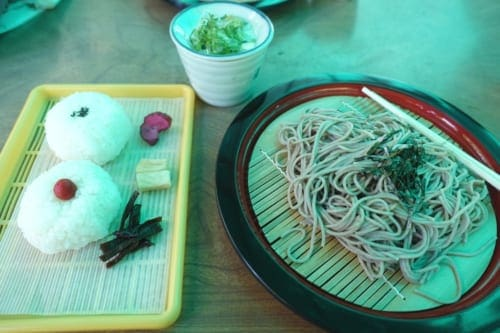 Fresh soba for lunch at Takachiho Gorge