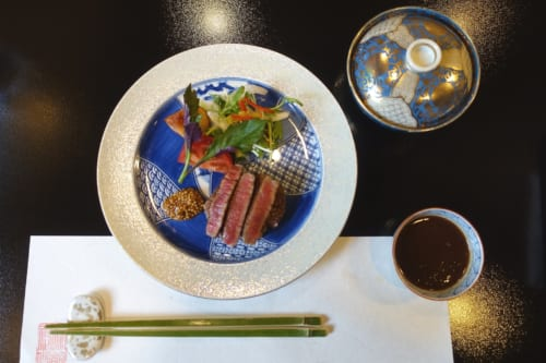 A Takachiho beef kaiseki meal from Ryokan Shinsen.