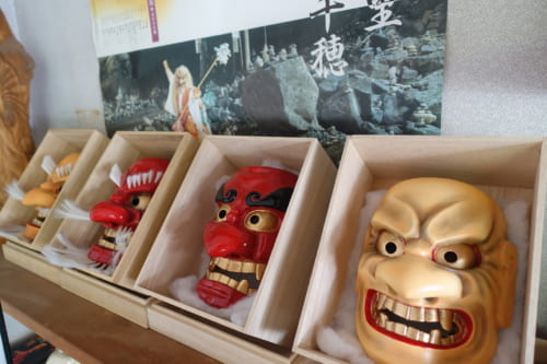 Masks on display at Amanoiwato Kibori studio