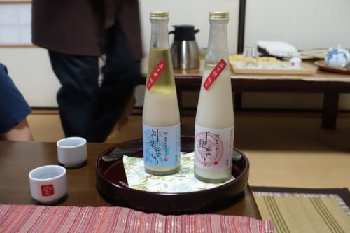 Sake produced at Minshoku Maroudo