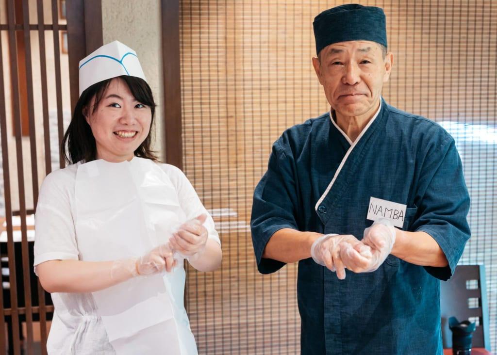 Making sushi at Kidoairaku