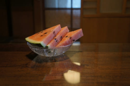 Watermelon slices in a glass dish