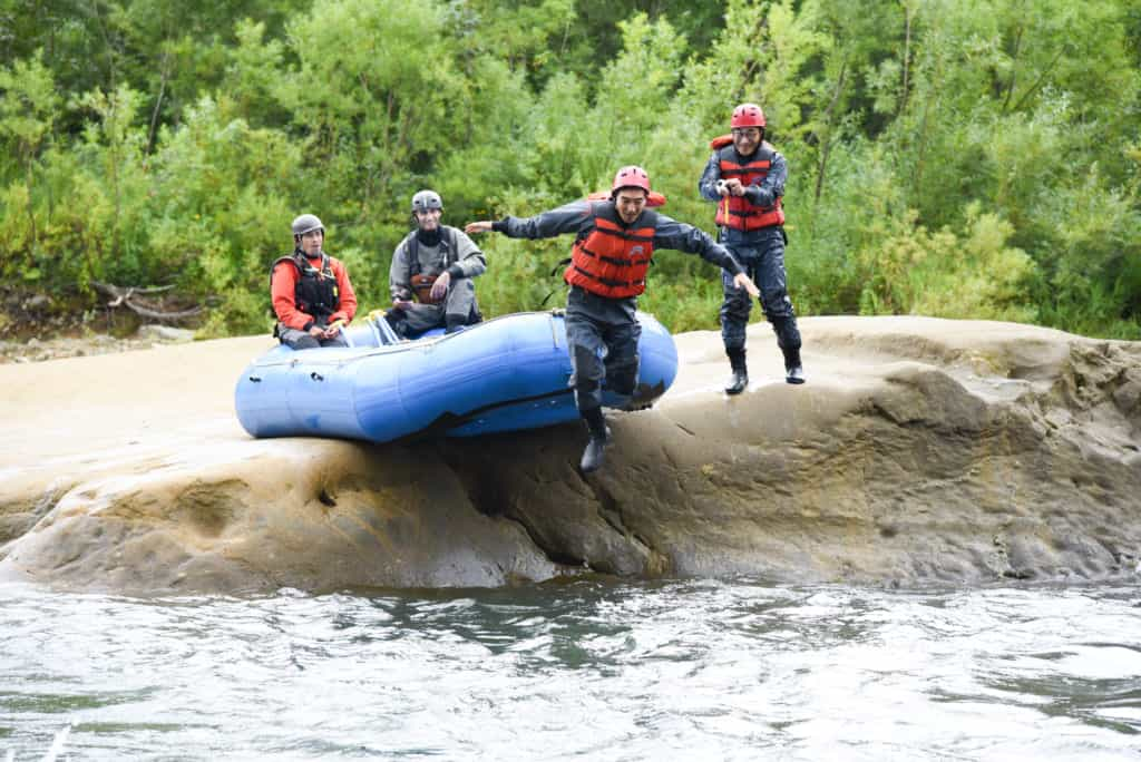 Rafting in Niseko.