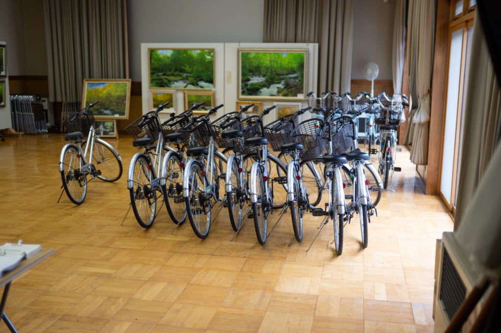 The rental bikes at the Oirase Visitors Center.
