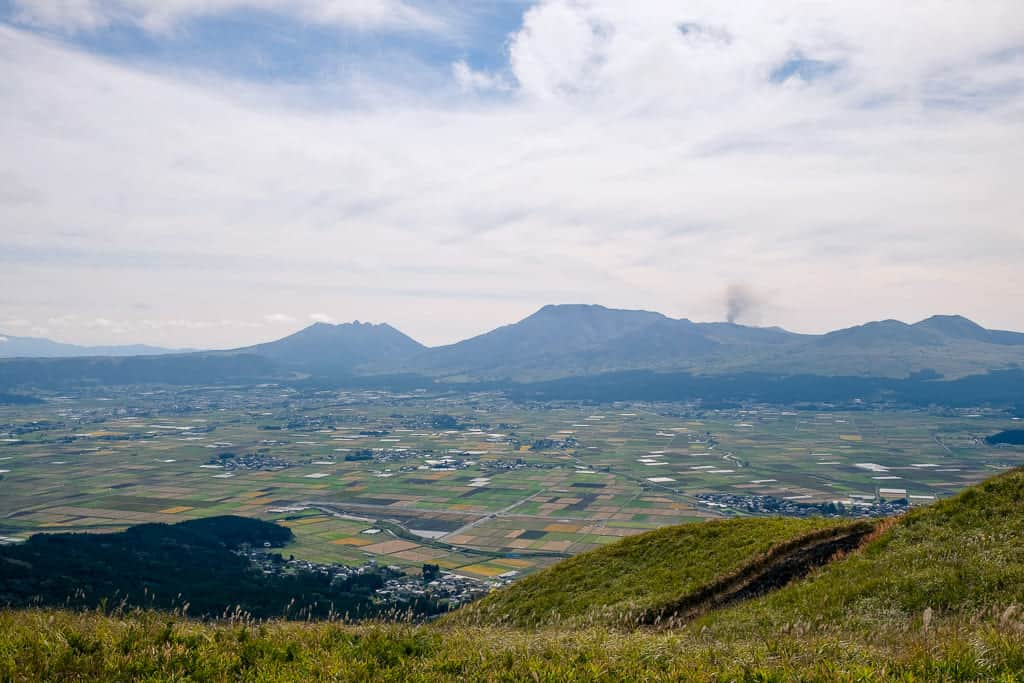 Kumamoto landscape with volcano and farmland in Japan