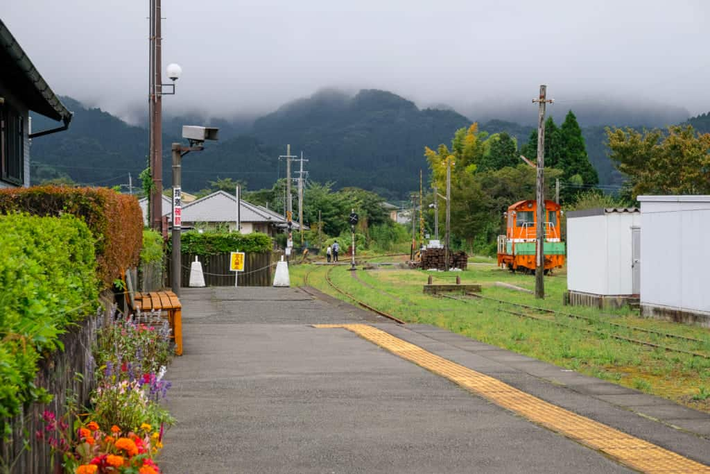 Japanese train tracks in Kumamoto, Japan