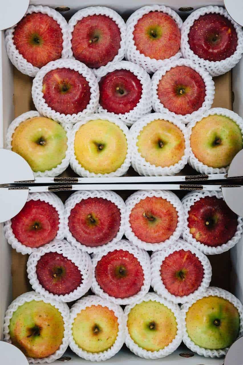 Local apples in box in Iiyama, Nagano